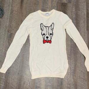 Old Navy Boston Terrier red tie sweater size S